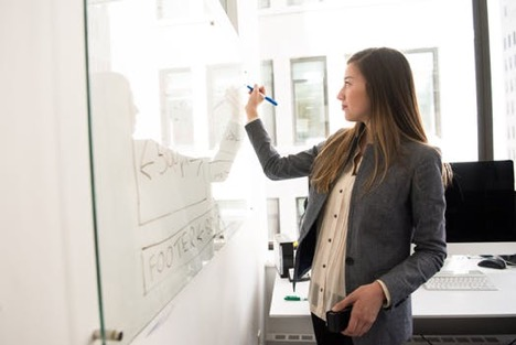Business woman writing on a white board.